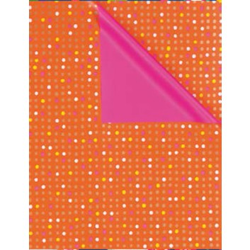 Geschenkpapier; verschiedene Formate; Pünktchen; bicolor: weiß auf orange/Rückseite: pink; 5A2507; Geschenkpapier gestrichen, weiß; ca. 80 g/qm
