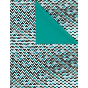 Geschenkpapier; verschiedene Formate; Dreiecke, aufgereiht; bicolor: schwarz-türkis/Rückseite:türkis; 5A2517; Geschenkpapier gestrichen weiß, glatt