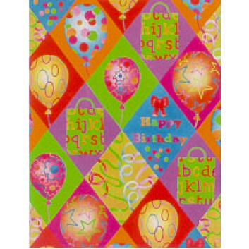 Geschenkpapier; 50 cm x 50 m; Happy Birthday-Schriftzug, Partydekor; bunt; 0A1871; Geschenkpapier gestrichen weiß, glatt; 50m-Midirolle