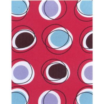 Geschenkpapier; 50 cm x 50 m; mit farbigen Kreismotiven; rot; 1A2020; Geschenkpapier gestrichen weiß, glatt; 50m-Midirolle; ca. 80 g/qm