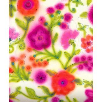 Geschenkpapier; 50 cm x 50 m; Blumendekor; pink-kiwi; 2A2162; Geschenkpapier gestrichen weiß, glatt; 50m-Midirolle; ca. 80 g/qm