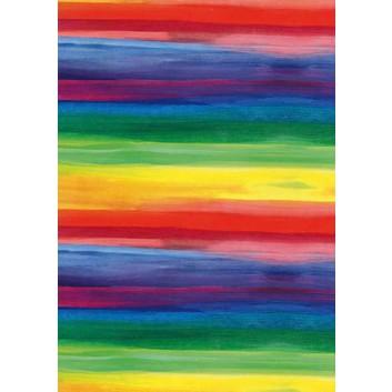 Geschenkpapier; 50 cm x 50 m; Streifen; regenbogenfarbig; 3A2263; Geschenkpapier gestrichen weiß, glatt; 50m-Midirolle; ca. 80 g/qm