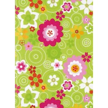 Zöwie Geschenkpapier; 50 cm x 50 m; Blumen; bunt auf hellgrün; 4A2341; Geschenkpapier gestrichen weiß, glatt; 50m-Midirolle; ca. 80 g/qm