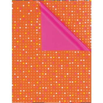 Zöwie Geschenkpapier; 50 cm x 50 m; Pünktchen; bicolor: weiß auf orange/Rückseite: pink; 5A2507; Geschenkpapier gestrichen weiß, glatt