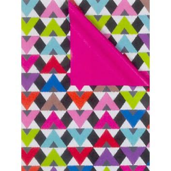 Geschenkpapier; 50 cm x 50 m; Grafikmotiv: Zacken; bicolor: bunt/Rückseite: pink; 7A2617; Geschenkpapier gestrichen weiß, glatt; 50m-Midirolle