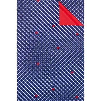 Geschenkpapier; 50 cm x 50 m; Punkte & Marienkäfer; bicolor: blau-weiß /Rückseite: uni-rot; 9A86612; Geschenkpapier gestrichen weiß, glatt