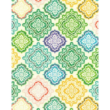 Zöwie Geschenkpapier; 50 cm x 50 m; Grafik: Batic-Kacheln; bunt; A82811; Geschenkpapier gestrichen weiß, glatt; Midirolle; ca. 80 g/qm