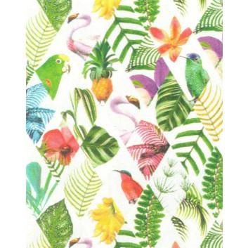 Geschenkpapier; 50 cm x 50 m; Tropic; Vögel und Farne in Rhomben; A8330; Geschenkpapier gestrichen weiß, glatt; Midirolle; ca. 80 g/qm