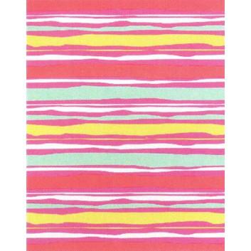 Geschenkpapier; 50 cm x 50 m; Grafik: Linien, verlaufend; rosa-gelb-türkis, Pastelltöne; A836410; Geschenkpapier gestrichen weiß, glatt; Midirolle