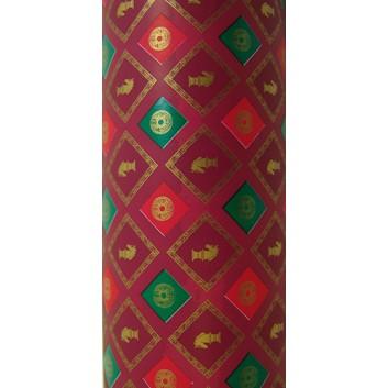 Geschenkpapier; 70 cm x 50 m; Classic: Schachmotiv; bordeaux; 27; Offset weiß, glatt; 50m-Midirolle