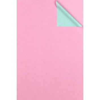 Geschenkpapier; 50 cm x 100 m; bicolor, zweiseitig farbig; rosa-hellblau; # 1674; Kraftpapier, weiß enggerippt; 100m-Maxirolle; ca. 60 g/qm