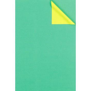 Geschenkpapier; 50 cm x 100 m; bicolor, zweiseitig farbig; limette-mint; # 931675; Kraftpapier, weiß enggerippt; 100m-Maxirolle; ca. 60 g/qm