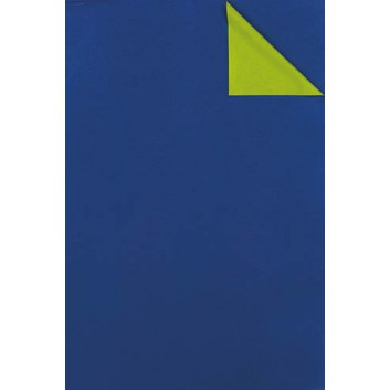 Geschenkpapier; 50 cm x 100 m; bicolor, zweiseitig farbig; kobaltblau-hellgrün; # 1677; Kraftpapier, weiß enggerippt; 100m-Maxirolle; ca. 60 g/qm