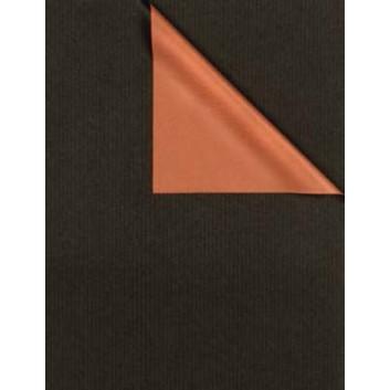 Geschenkpapier; 50 cm x 250 m / 70 cm x 250 m; bicolor, zweiseitig farbig; schwarz-kupfer; 531669; Kraftpapier, weiß enggerippt; Secare-Rolle