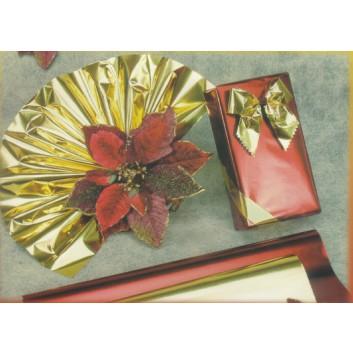 Geschenkpapier - Metallicpapier; 70 cm x 20 m; uni, einseitig farbig; gold / silber / rot, Rückseite: weiß-mat; Offset metallisiert, weiß, glatt