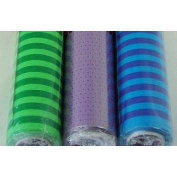 Geschenkpapier; 70 cm x 20 m; verschiedene Motive; verschiedene Farben; Dots:schw./orange/lila;Stripes:blau/grün; Minirolle