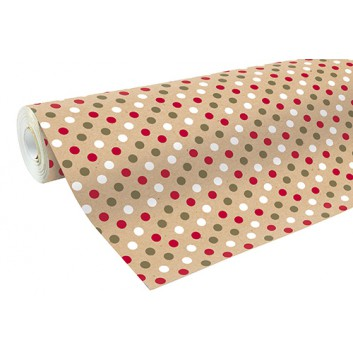 Clairefontaine Geschenkpapier, recycling; 70 cm x 50 m; Punkte; rot-grün-weiß; 223800C; Recycling-Kraftpapier, braun glatt; 50m-Midirolle; 70 g/qm