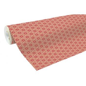 Clairefontaine Geschenkpapier, recycling; 70 cm x 50 m; Geometrisches Design; rot; 223802C; Recycling-Kraftpapier, braun glatt; 50m-Midirolle