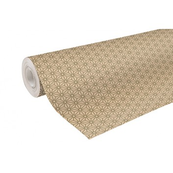 Clairefontaine Geschenkpapier, recycling; 70 cm x 50 m; Geometrisches Design; olivgrün; 223803C; Recycling-Kraftpapier, braun glatt; 50m-Midirolle