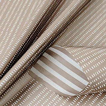 Geschenkpapier; 50 cm x 250 m; VS: Seersucker / RS: Streifen; chablis-weiß; 118051; Kraftpapier, weiß gestrichen glatt; Secare-Rolle; ca. 70 g/qm