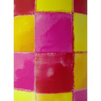 Papier-Stein Geschenkpapier; 50 cm x ca. 250 m; Grafik: gelb-orange-pink; bunt, glatt-matt; 1523; gestrichenes weißes Papier, glatt-matt
