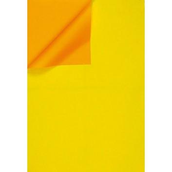 Geschenkpapier; 50 cm x ca. 250 m; bicolor, zweiseitig farbig; gelb-orange; 331642; Kraftpapier, weiß enggerippt; Secare-Rolle; ca. 60 g/qm