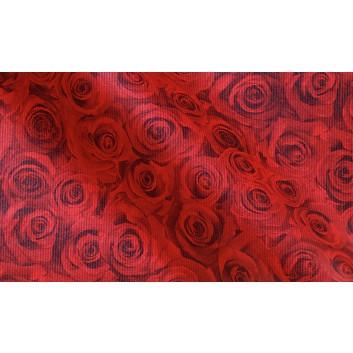 Binhold Geschenkpapier; 50 cm x ca. 250 m; Rosen: -Forever-; rot; 81510; Kraftpapier weiß,  enggerippt; Secare-Rolle