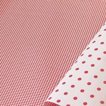 Geschenkpapier; 50 cm Breit, Rollengewicht: ca. 9 Kilo; bicolor: VS: Karo  / RS:  Punkte; rot-weiß; 86461; Kraftpapier, weiß gestrichen glatt