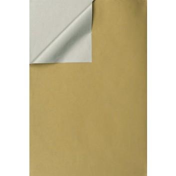 Geschenkpapier; 50 cm x 250 m / 70 cm x 250 m; bicolor, zweiseitig farbig; gold-silber; 331647; Kraftpapier, weiß enggerippt; Secare-Rolle