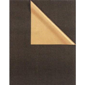 Zöwie Geschenkpapier; 70 cm x ca. 250 m; bicolor, zweiseitig farbig; schwarz-gold; 31671; Kraftpapier, weiß enggerippt; Secare-Rolle; ca. 60 g/qm