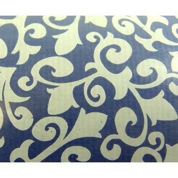 Geschenkpapier; 50 cm x 250 m; bicolor: Rankenblumen; weiß auf blau; 012; Kraftpapier, weiß- enggerippt; Secare-Rolle