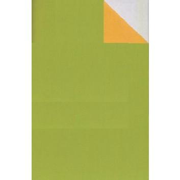 Geschenkpapier; 50 cm x 250 m; bicolor, zweiseitig farbig; kiwigrün-maisgelb; 60030; Kraftpapier, weiß-enggerippt; Secare-Rolle