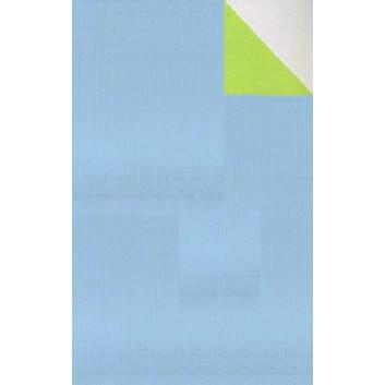 Geschenkpapier; 50 cm x 250 m; bicolor, zweiseitig farbig; hellblau-grün; 60041; Kraftpapier, weiß-enggerippt; Secare-Rolle