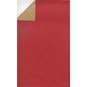 Geschenkpapier; 50 cm x 250 m; bicolor, zweiseitig farbig; rot-gold; 60052; Kraftpapier, braun-enggerippt; Secare-Rolle