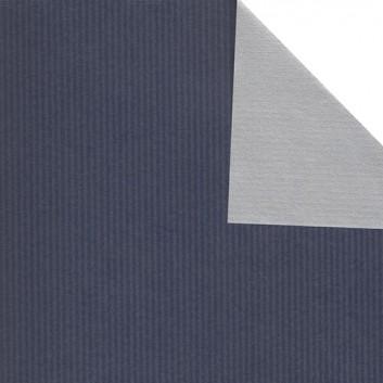 Geschenkpapier; 50 cm x 250 m; bicolor, zweiseitig farbig; blau-silber; 60070; Kraftpapier, braun-enggerippt; Secare-Rolle