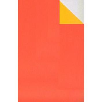 Geschenkpapier; 50 cm x 250 m; bicolor, zweiseitig farbig; orange-gelb; 60083; Kraftpapier, weiß-enggerippt; Secare-Rolle