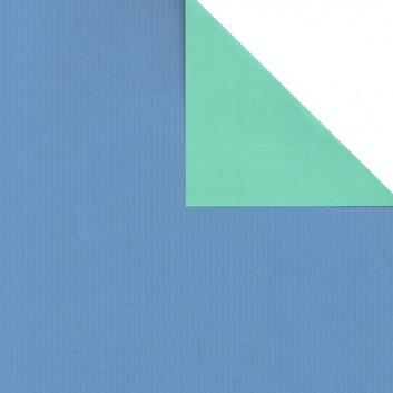 Geschenkpapier; 50 cm x 250 m; bicolor, zweiseitig farbig; bicolor: blau-jade (wasserblau); 60160; Eco Kraftpapier, weiß enggerippt; Secare-Rolle