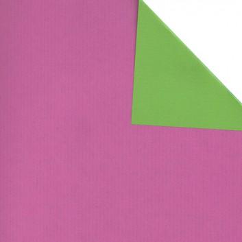 Geschenkpapier; 50 cm x 250 m; bicolor, zweiseitig farbig; bicolor: violett-grasgrün; 60199; Eco Kraftpapier, weiß enggerippt; Secare-Rolle