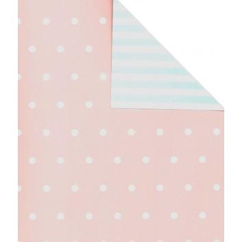 Geschenkpapier; 50 cm x 250 m; Kombi: Bebe VS:Punkte + RS:Streifen; rosa-weiß - hellblau-weiß; 60333; Artline Matt gestrichen; Secare-Rolle