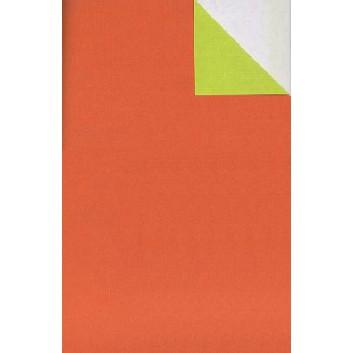 Geschenkpapier; 50 cm x 250 m / 70 cm x 250 m; bicolor, zweiseitig farbig; orange-grün; 60056; Kraftpapier, weiß enggerippt; Secare-Rolle