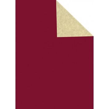 Geschenkpapier; 50 cm x 250 m / 70 cm x 250 m; bicolor, zweiseitig farbig; bordeaux - elfenbein; 60098; Kraftpapier weiß, enggerippt; Secare-Rolle