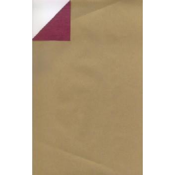 Geschenkpapier; 70 cm x 250 m; bicolor, zweiseitig farbig; gold-bordeaux; 60090; Kraftpapier, braun enggerippt; Secare-Rolle