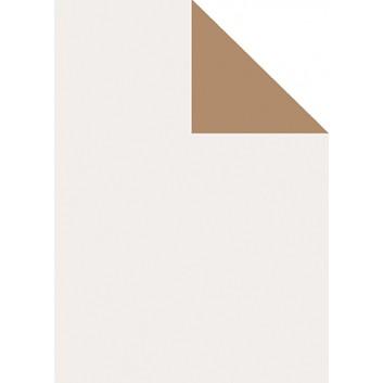 Geschenkpapier; 70 cm x 250 m; bicolor, zweiseitig farbig; weiß, pearl - kupfer; 70158; Artline matt gestrichen, glatt; Secare-Rolle