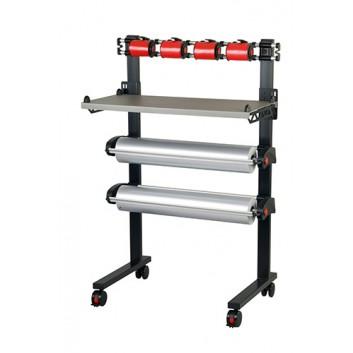 Abrollerständer Vario-Pack; 75 cm (2 Rollen); fahrbar + arretierbar, waagrecht; gezahntes Messer; 2 Papier-bzw.Folien  + 4 Ringelband; Vario-Pack