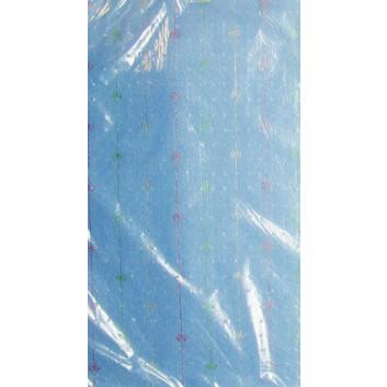 Geschenkseide; 50 x 75 cm; Streifen, fein mit Schleifchen; mittelblau, Streifen rot-grün; Seide, geprägt; Bogen, einmal gelegt