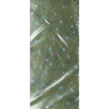 Geschenkseide; 50 x 75 cm; Punkte; blau-weiß auf gold-schwarzem Grund; Seide, geprägt; Bogen, einmal gelegt