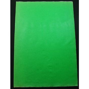 Geschenkseide; 50 x 75 cm; uni; grün (teilweise verblichen); Seide, geprägt; Bogen, einmal gelegt; ca. 25 g/qm