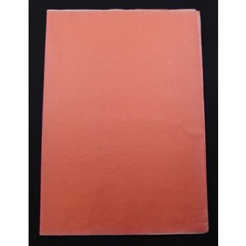 Geschenkseide; 50 x 75 cm; uni; orange  (teilweise verblichen); Seide, geprägt; Bogen, einmal gelegt; ca. 25 g/qm