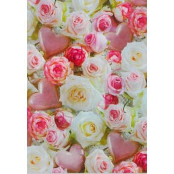 Geschenkseide; 50 x 70 cm; Fotomotiv: Rosen und Herzen; rosa-weiß; 662626; Seide, geprägt; Bogen, einmal gelegt; ca. 25 g/qm