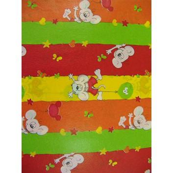 Geschenkseide; 50 x 70 cm; Kindermotiv: Mäuse mit Luftballons; grün-gelb-rot-orange; Seide, geprägt; Bogen, einmal gelegt; ca. 25 g/qm